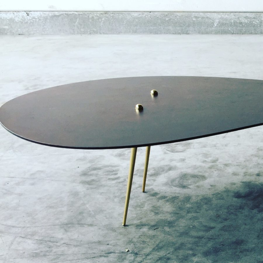 """""""In Time"""", patinated steel table top with brass and bronze, created by Kevin Oyen, designer and artisan metalworker"""